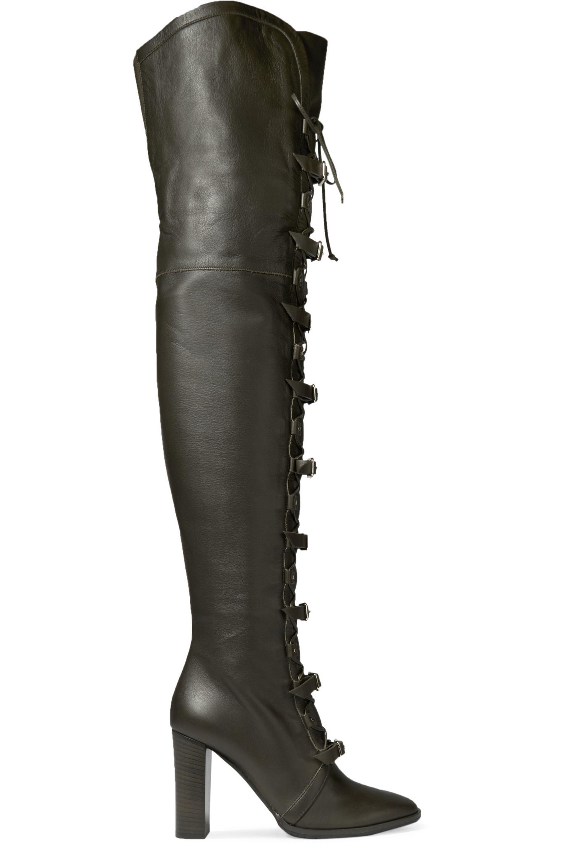 0affd9ad997 Lyst - Jimmy Choo Maloy Leather Over-the-knee Boots in Green