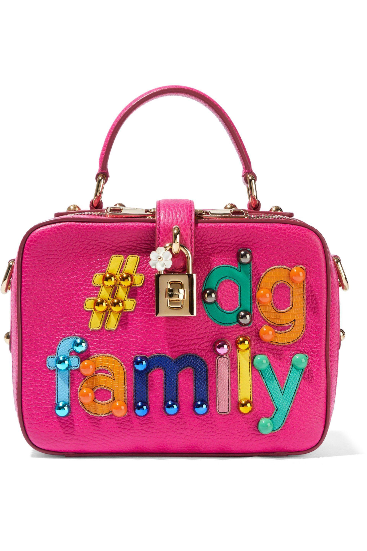 1f7049e3d8 Dolce   Gabbana. Women s Woman  dg Appliquéd Textured-leather Shoulder Bag  Bright Pink