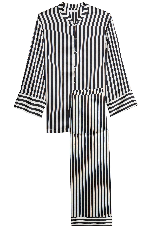 5cb63e66da18c6 Yolke - Woman Striped Silk-blend Satin Pajama Set Black - Lyst. View  fullscreen