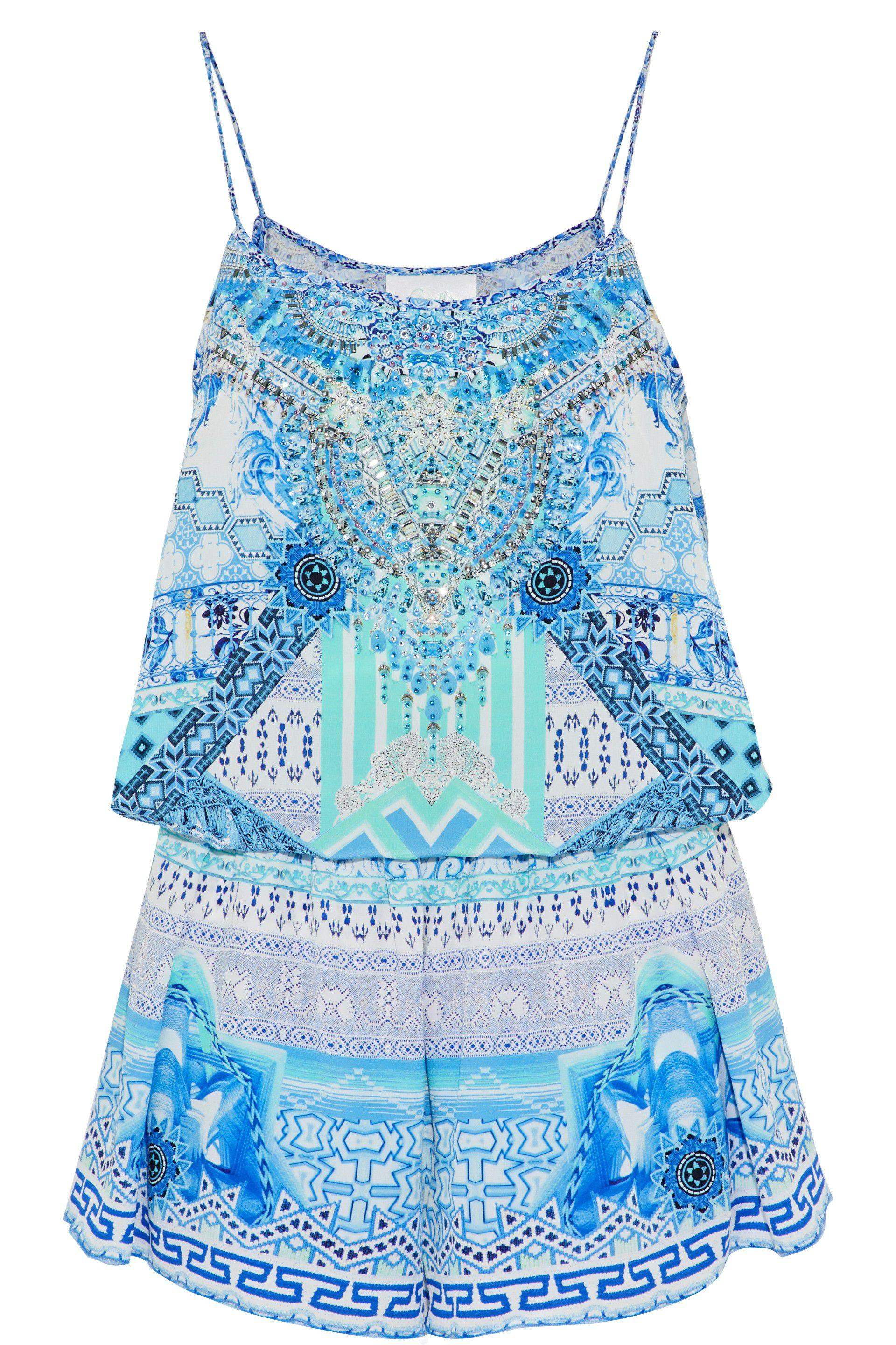 47184ebe79f Camilla Woman Masking Madness Embellished Printed Silk Playsuit ...
