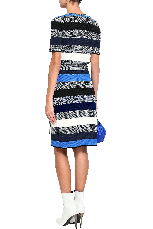 2c699890ab Diane von Furstenberg - Blue Striped Wrap Dress - Lyst. View fullscreen