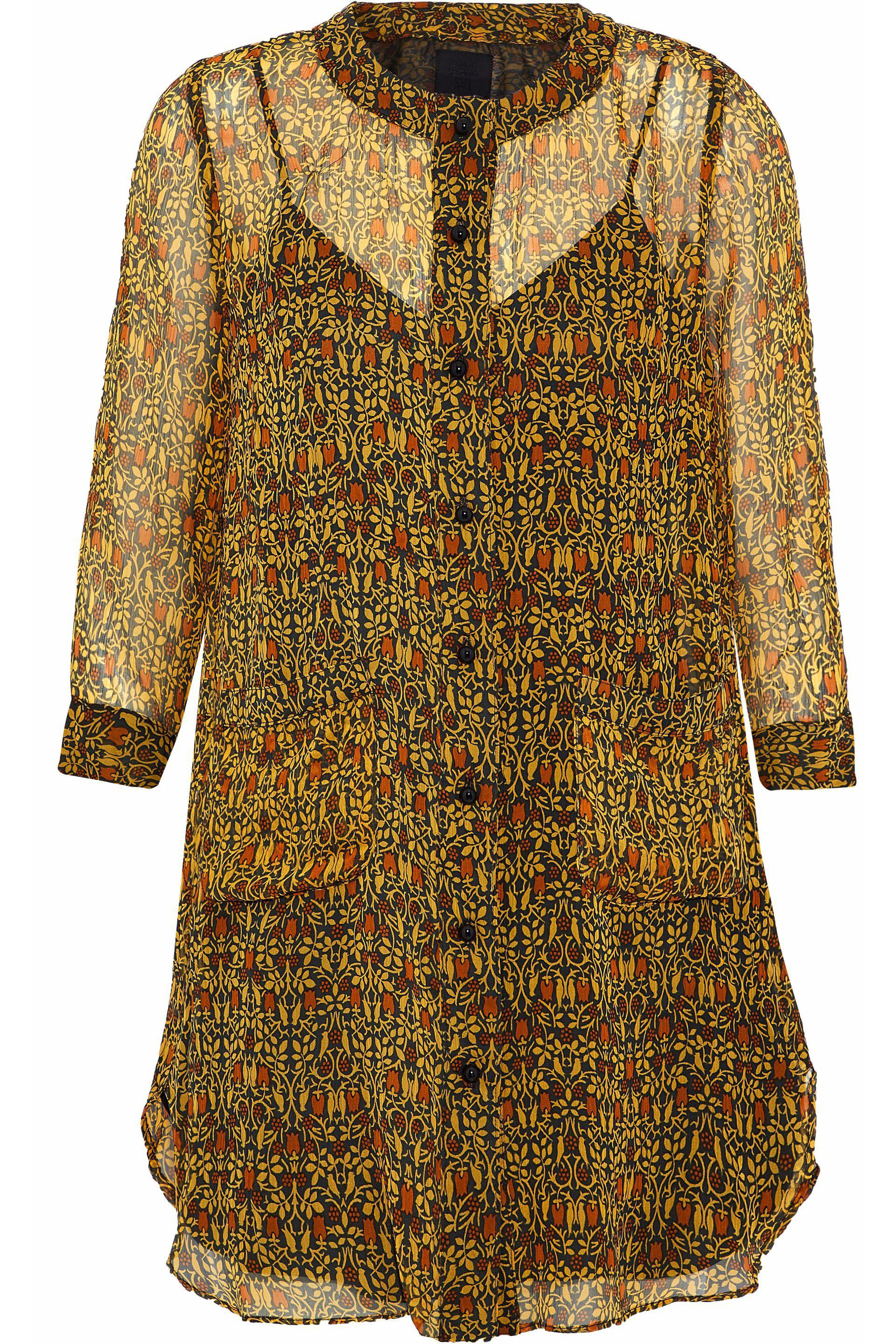 Cheap Sale Clearance Anna Sui Woman Ruffled Floral-print Silk-georgette Mini Shirtdress Multicolor Size M Anna Sui Collections Online Hurry Up All Size Discount Wholesale Price pMytyQ6hJ