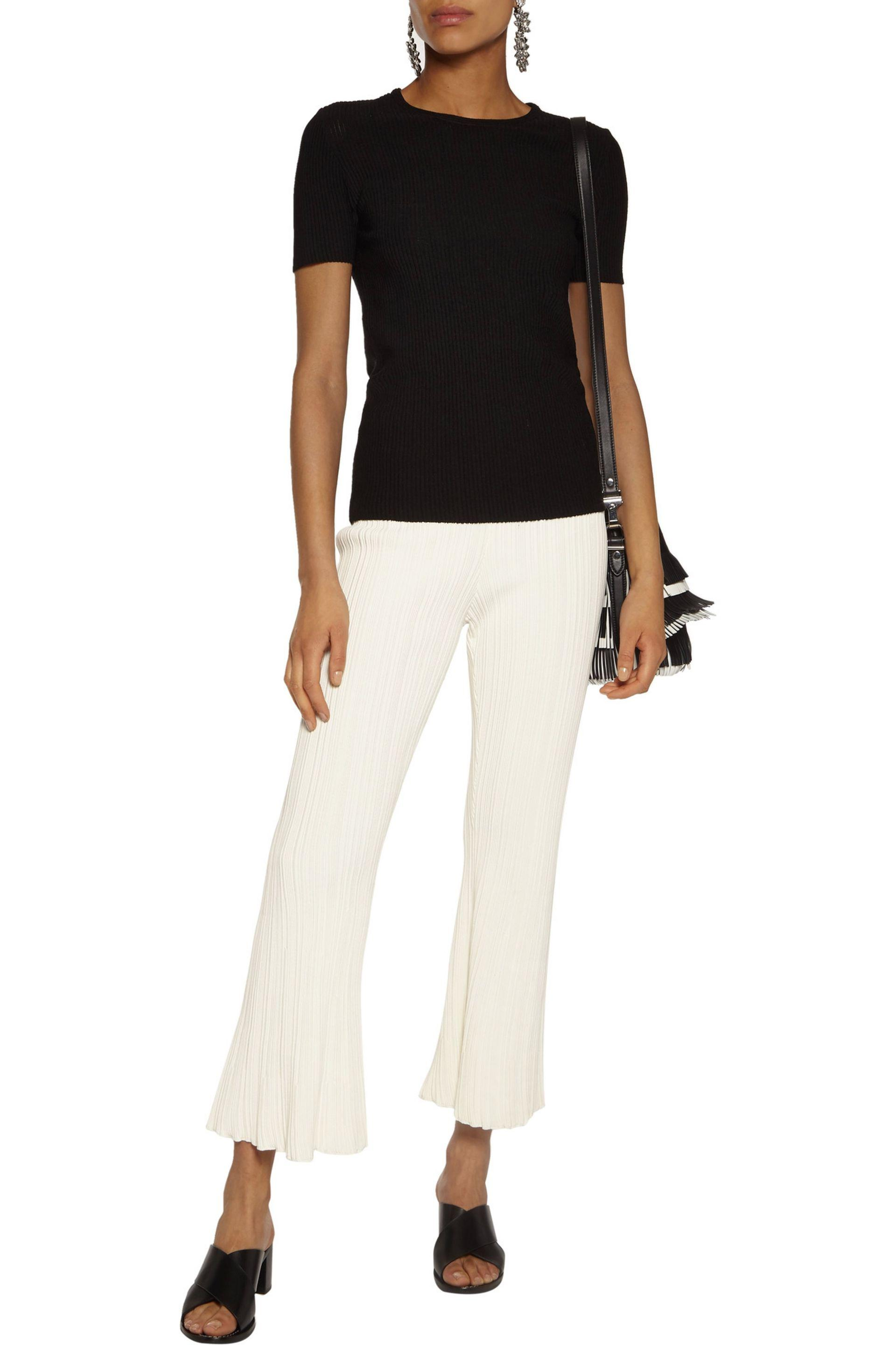 Proenza Schouler | White Cropped Ribbed Stretch-knit Bootcut Pants | Lyst.  View Fullscreen