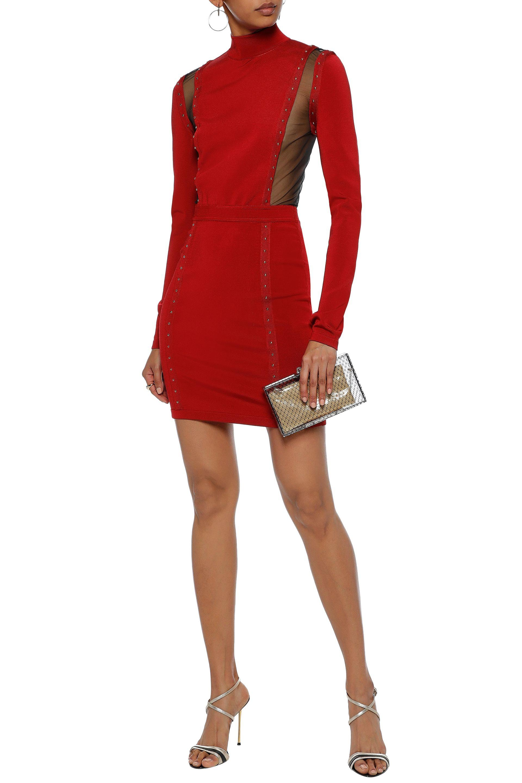 9fd0ec50 ... Studded Stretch-knit Turtleneck Mini Dress Crimson -. View fullscreen
