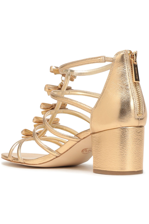 7b3e895fb87 MICHAEL Michael Kors - Woman Bow-embellished Metallic Leather Sandals Gold  - Lyst. View fullscreen