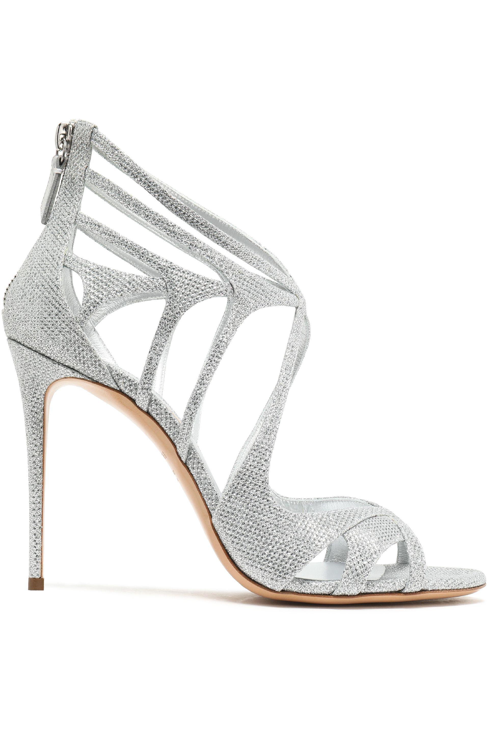 Buy Cheap Free Shipping Sale Deals Casadei Woman Cutout Metallic Mesh Sandals Size 35 Great Deals Online Sale Online Cheap ZVqLceHKu
