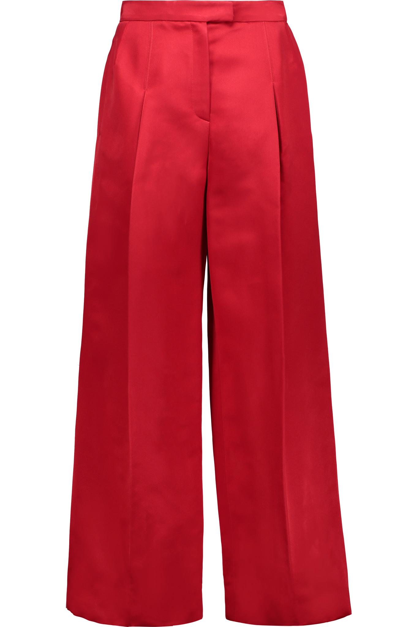 Lyst Valentino Silk Satin Wide Leg Pants In Red
