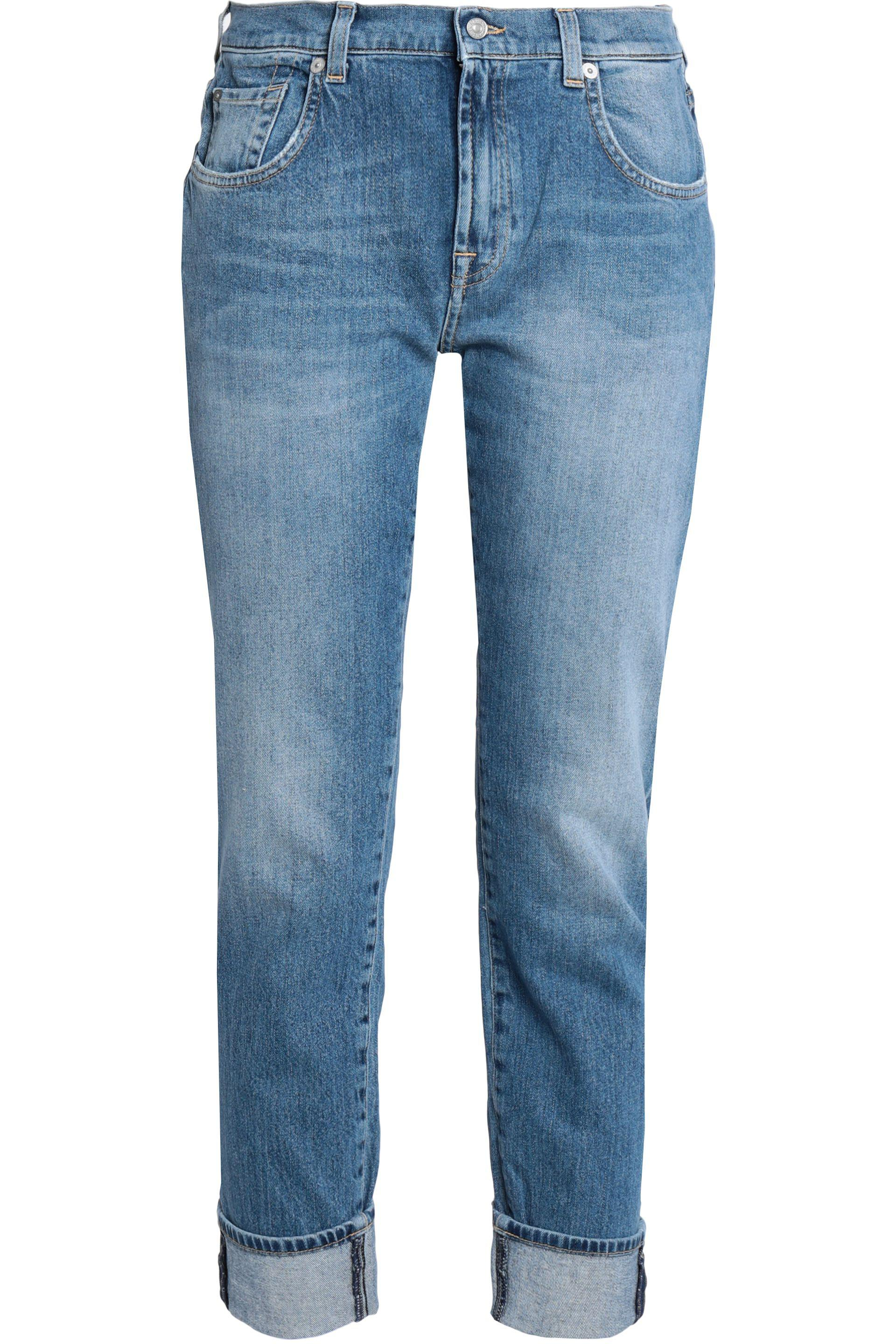 7 For All Mankind Woman Cropped Faded Mid-rise Slim-leg Jeans Mid Denim Size 29 7 For All Mankind i6uJk