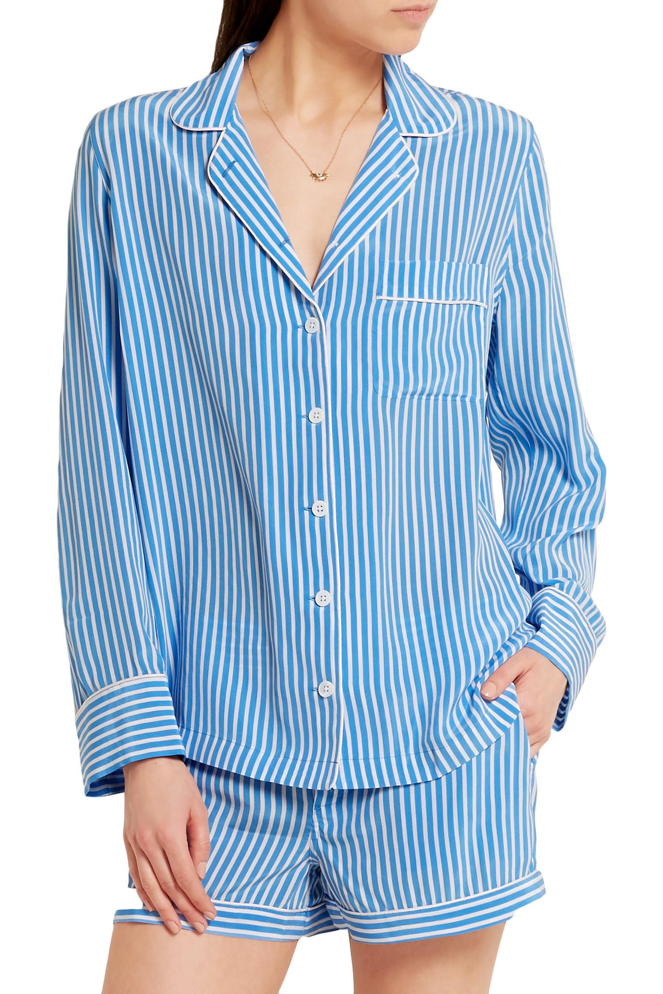 0ae8ada700 Lyst - Equipment Lillian Striped Washed-silk Pajama Set in Blue