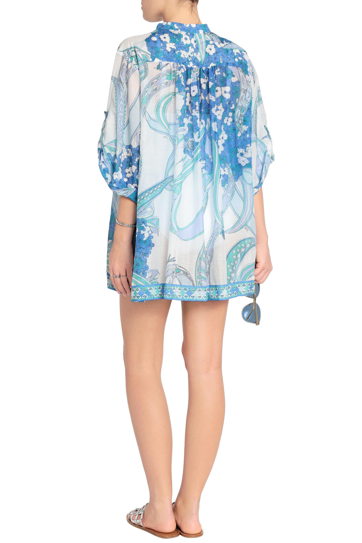Emilio Pucci Woman Printed Cotton And Silk-blend Slub-jersey Top Sky Blue Size 40 Emilio Pucci Buy Cheap Pictures Outlet 2018 Unisex 0gJXYY