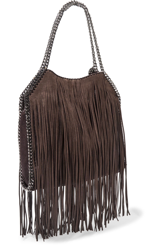 6e1a8314de8d Stella McCartney Mini Fringed Faux Brushed-leather Tote Dark Brown ...