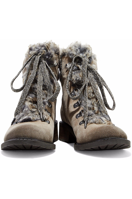 c3dbd0dd8251 Sam Edelman - Multicolor Woman Darrah Faux Fur-trimmed Suede Ankle Boots  Mushroom - Lyst. View fullscreen