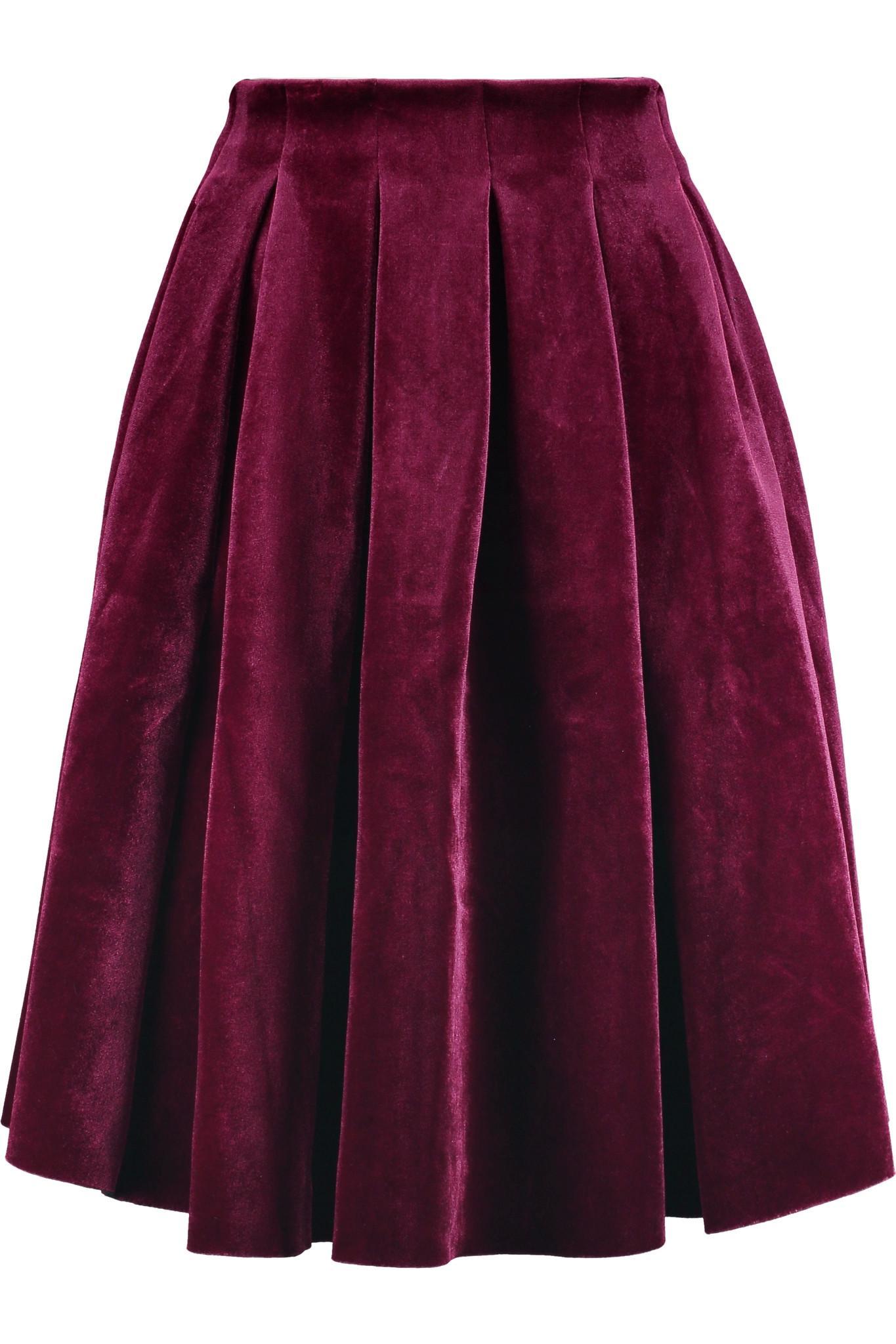 Lyst Maje Pleated Velvet Skirt In Purple