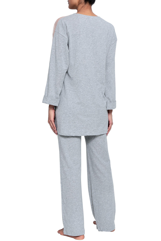 f850b4cad0956 cosabella-Light-gray-Woman-Lace-trimmed-Melange-Cotton-blend-Jersey-Pajama-Top-Light-Gray.jpeg