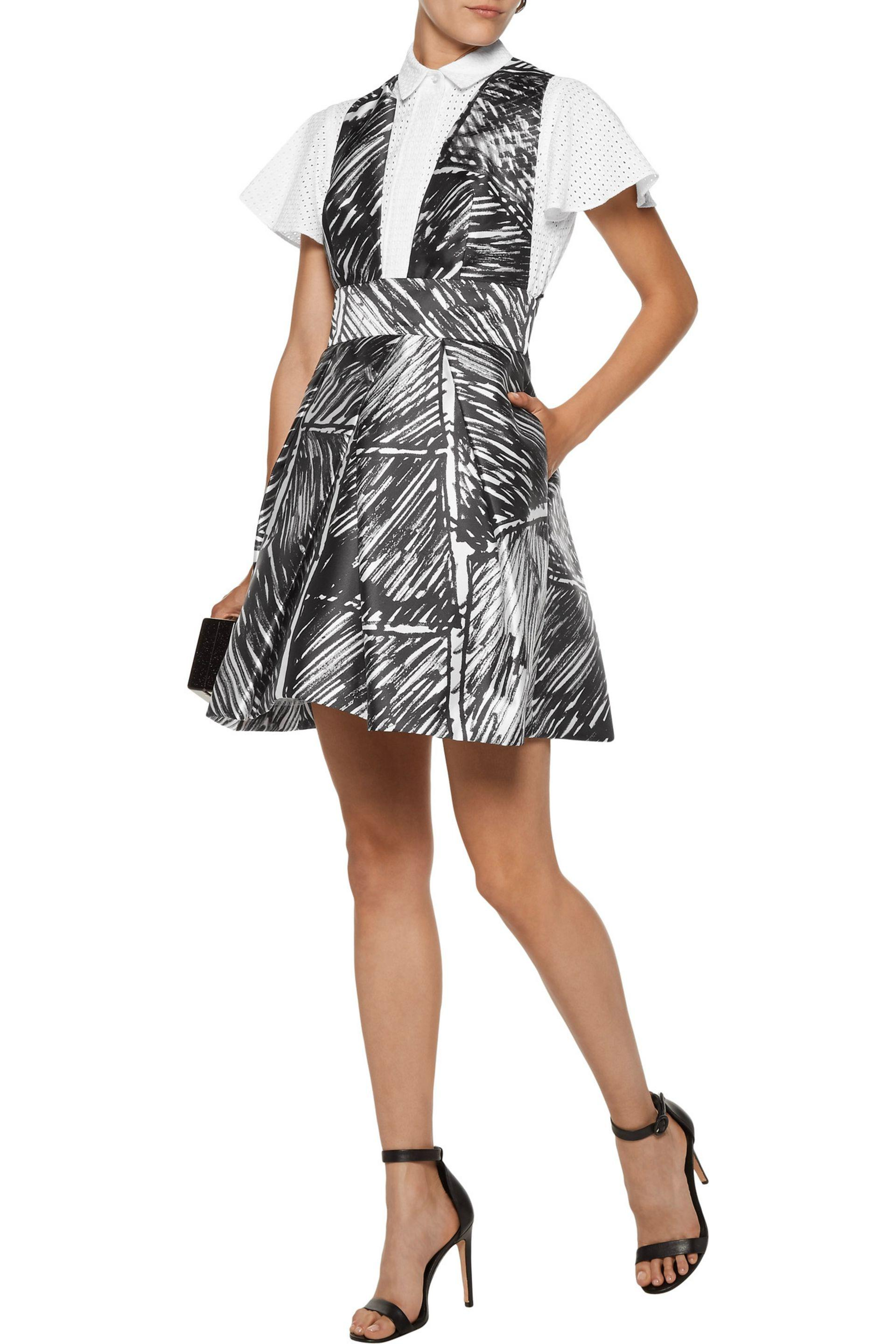 Milly Woman Elisa Pleated Printed Satin-twill Mini Dress Black Size 4 Milly 2YOcM6