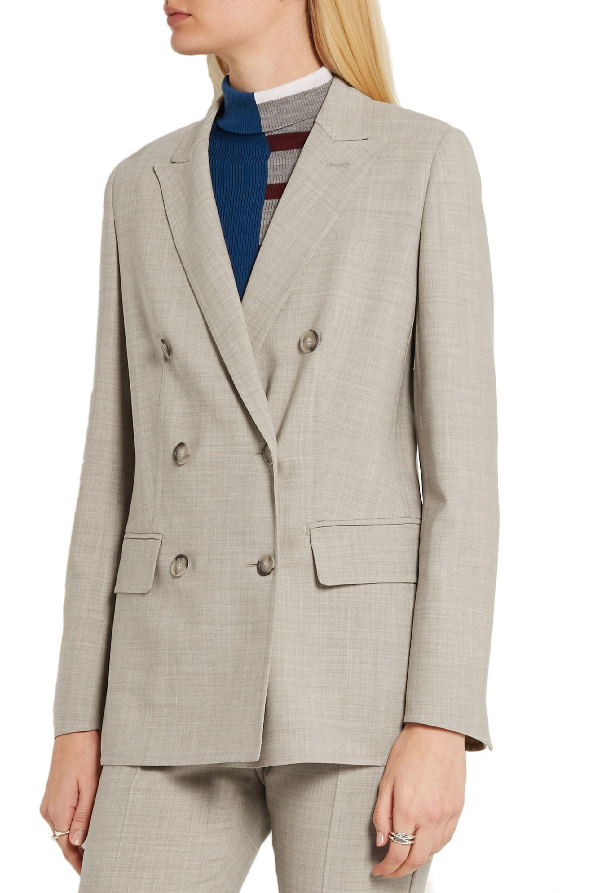 Max Mara - Natural Galea Double-breasted Stretch-wool Blazer - Lyst. View  Fullscreen