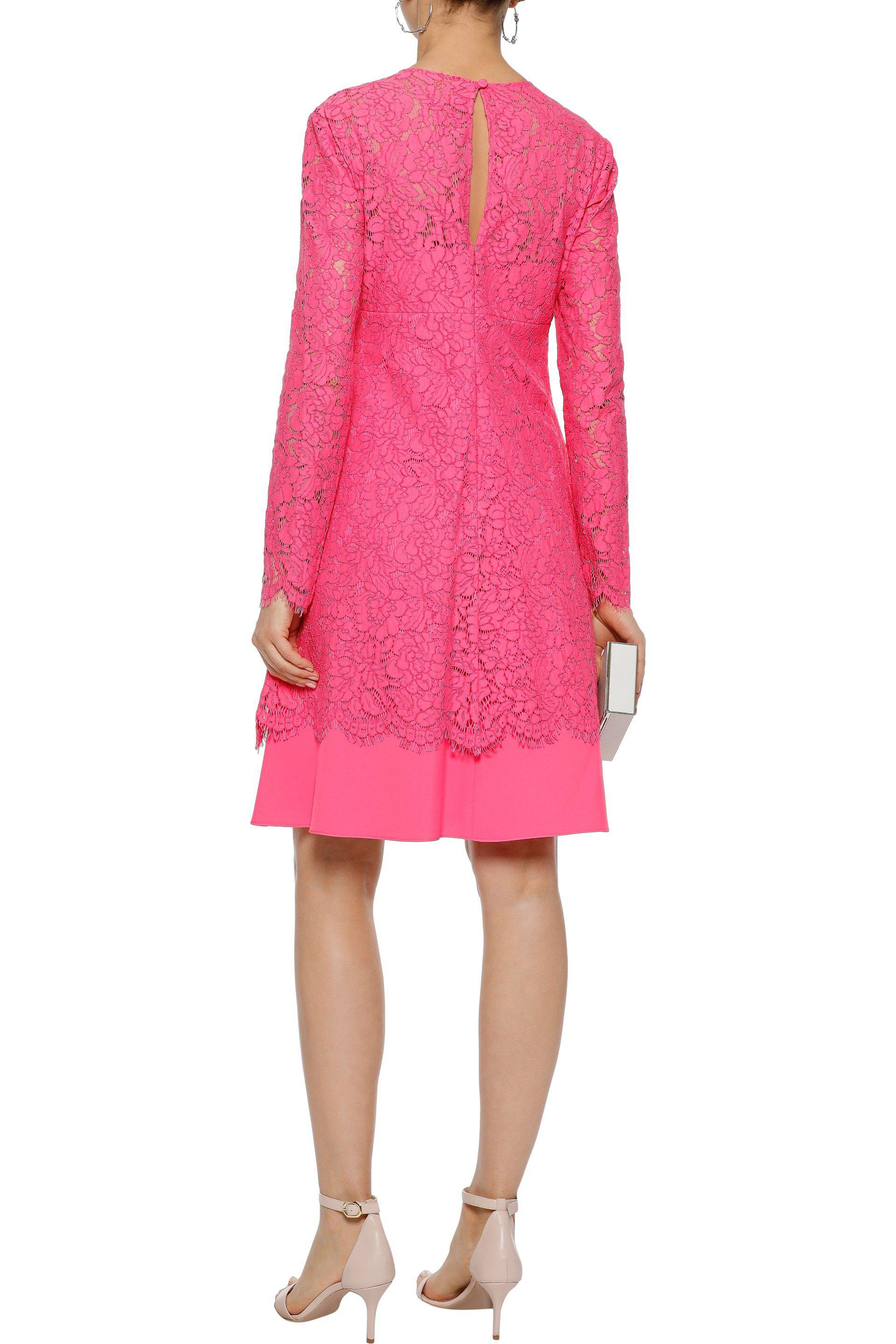 Mikael Aghal Woman Layered Corded Lace And Cady Dress Fuchsia Size 4 Mikael Aghal Free Shipping Manchester Discount Many Kinds Of Cheap Sale Supply JYuj9xaFh6