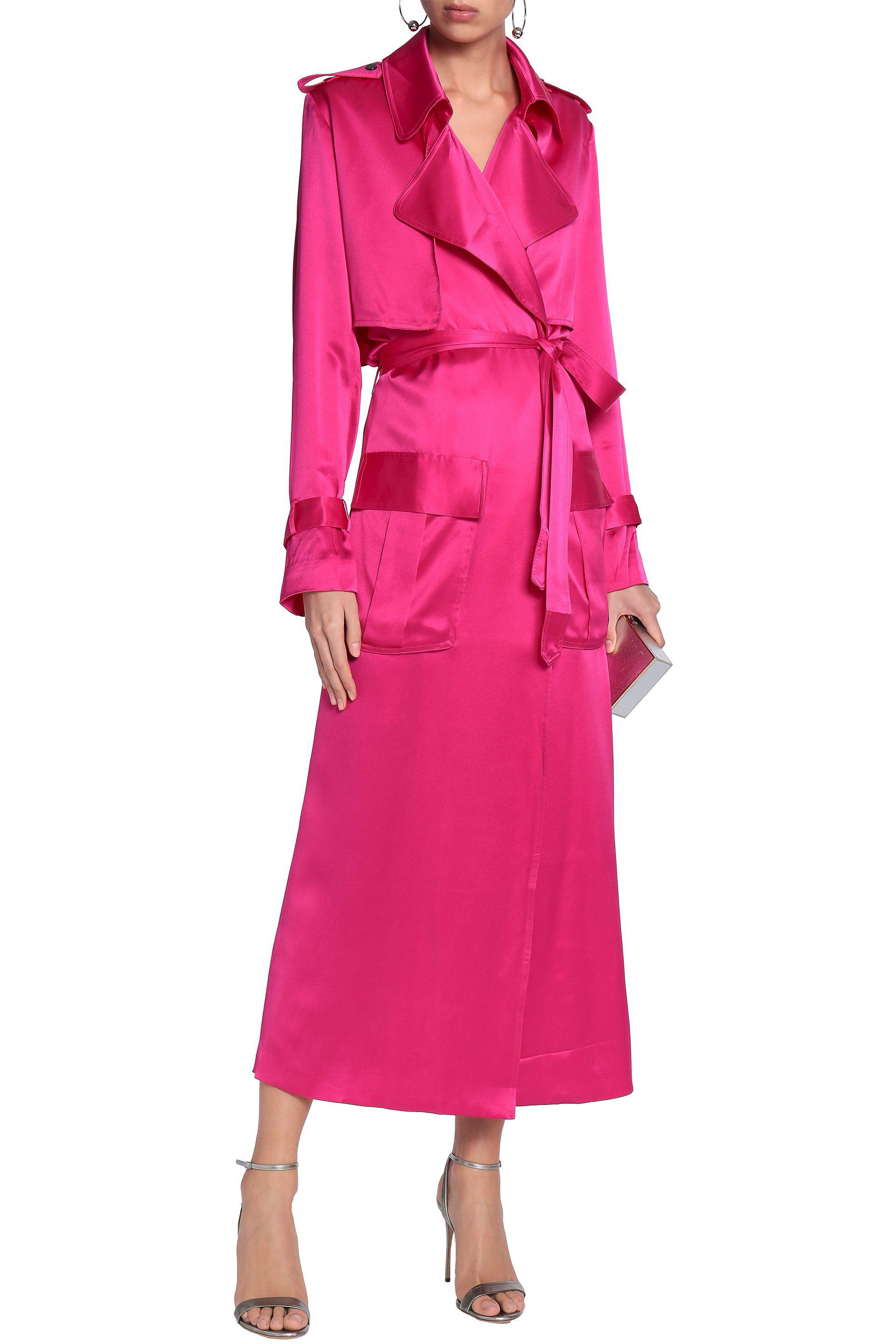 47e139f2424 Michael Lo Sordo Belted Silk-satin Trench Coat in Pink - Lyst