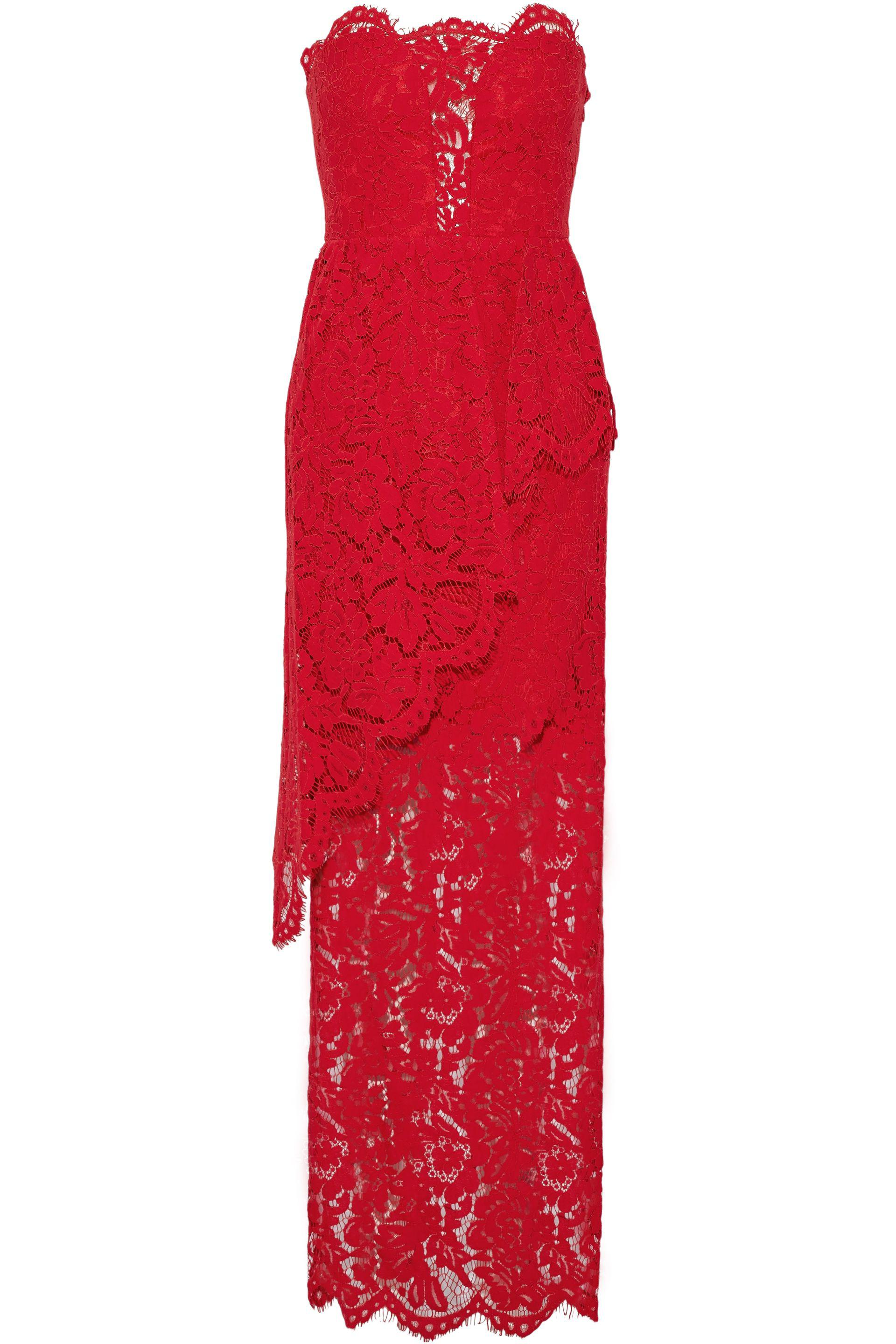 d6153c999fd MILLY Strapless Layered Corded Lace Gown in Red - Lyst