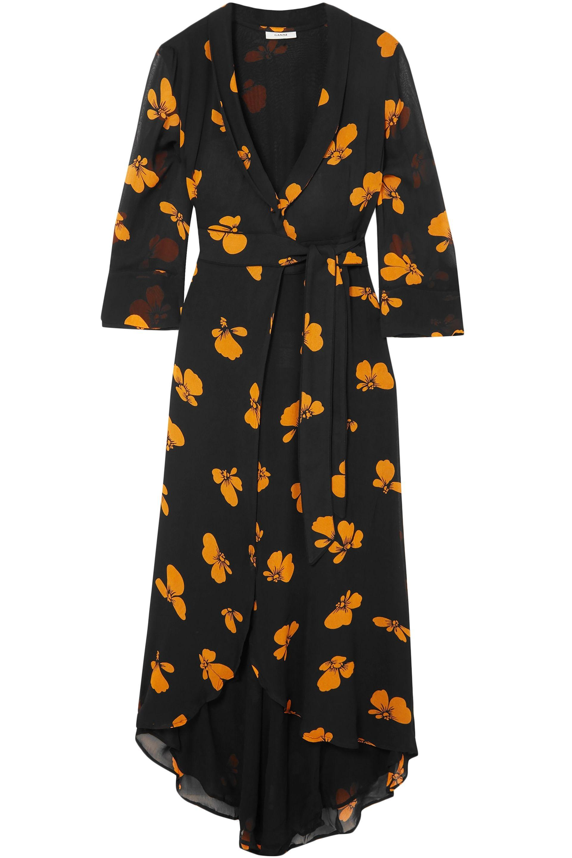 df1e4d32 Tap to visit site. Ganni - Woman Fairfax Floral-print Chiffon Wrap Dress  Black - Lyst