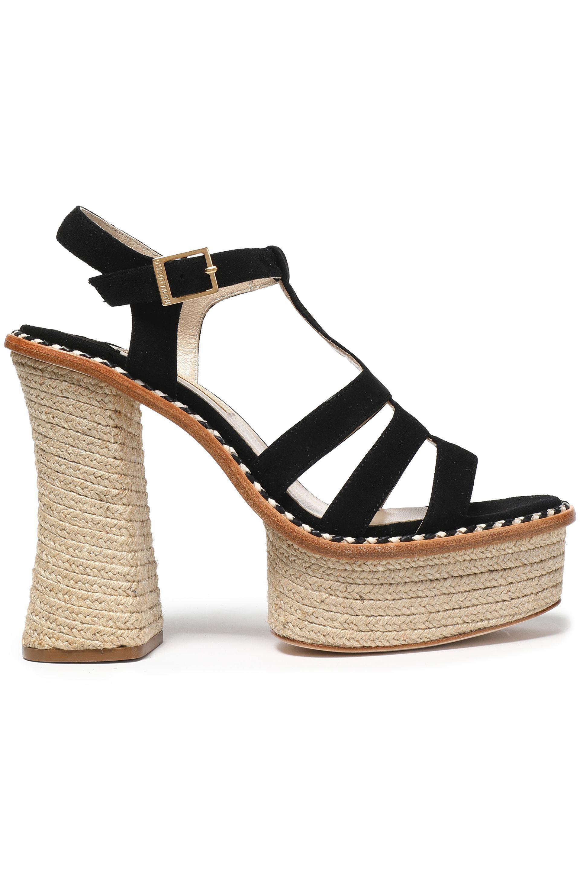 a1cc13edea08 Paloma Barceló Suede Platform Espadrille Sandals in Black - Lyst