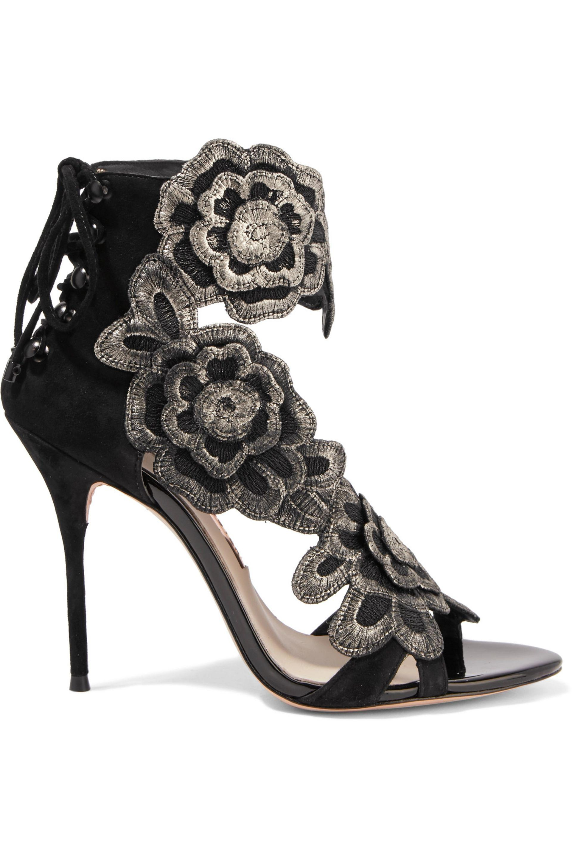 fef023190aa0 Lyst - Sophia Webster Winona Embroidered Suede Sandals in Black