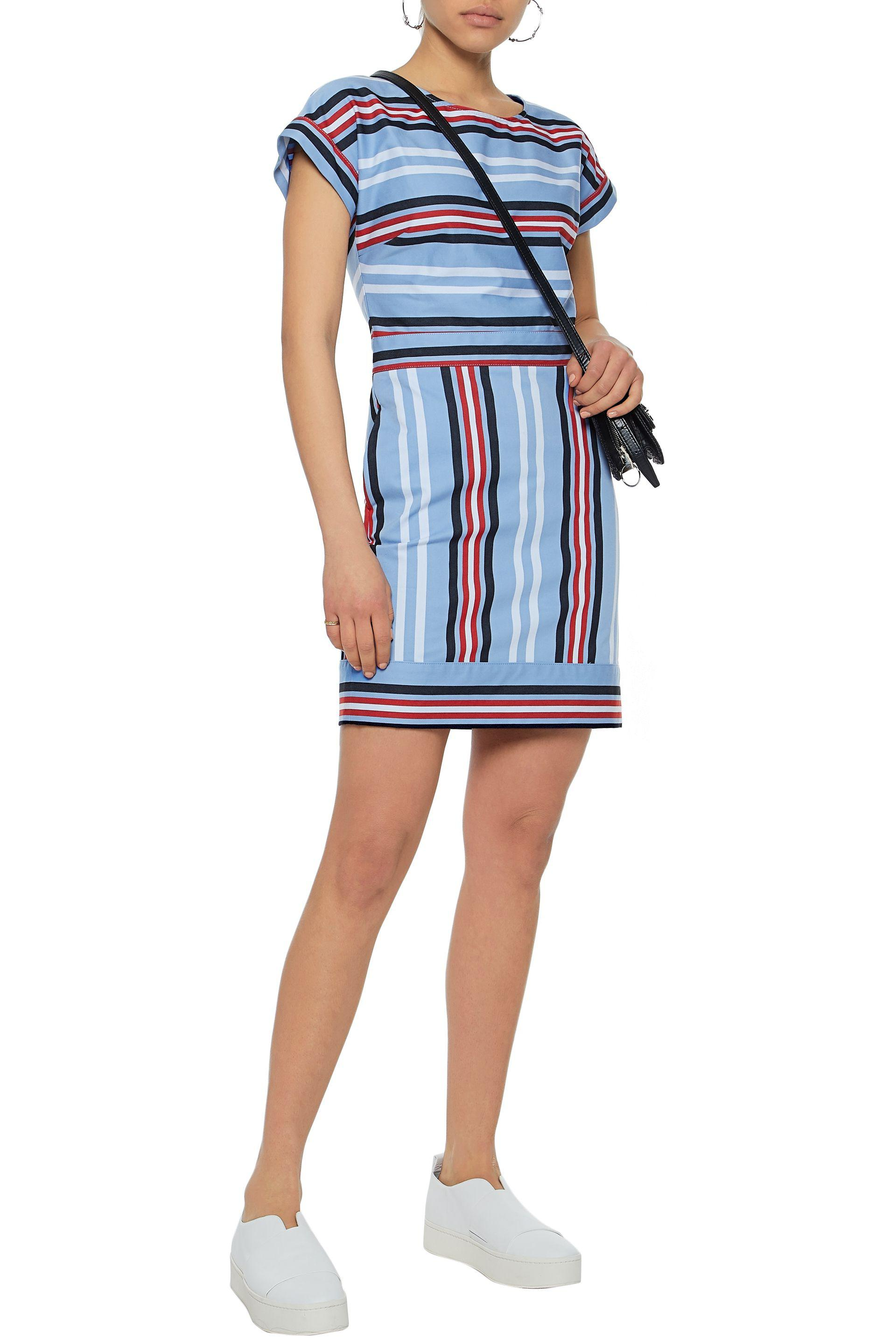 Love Moschino Woman Striped Cotton-blend Twill Mini Dress Sky Blue Size 44 Love Moschino