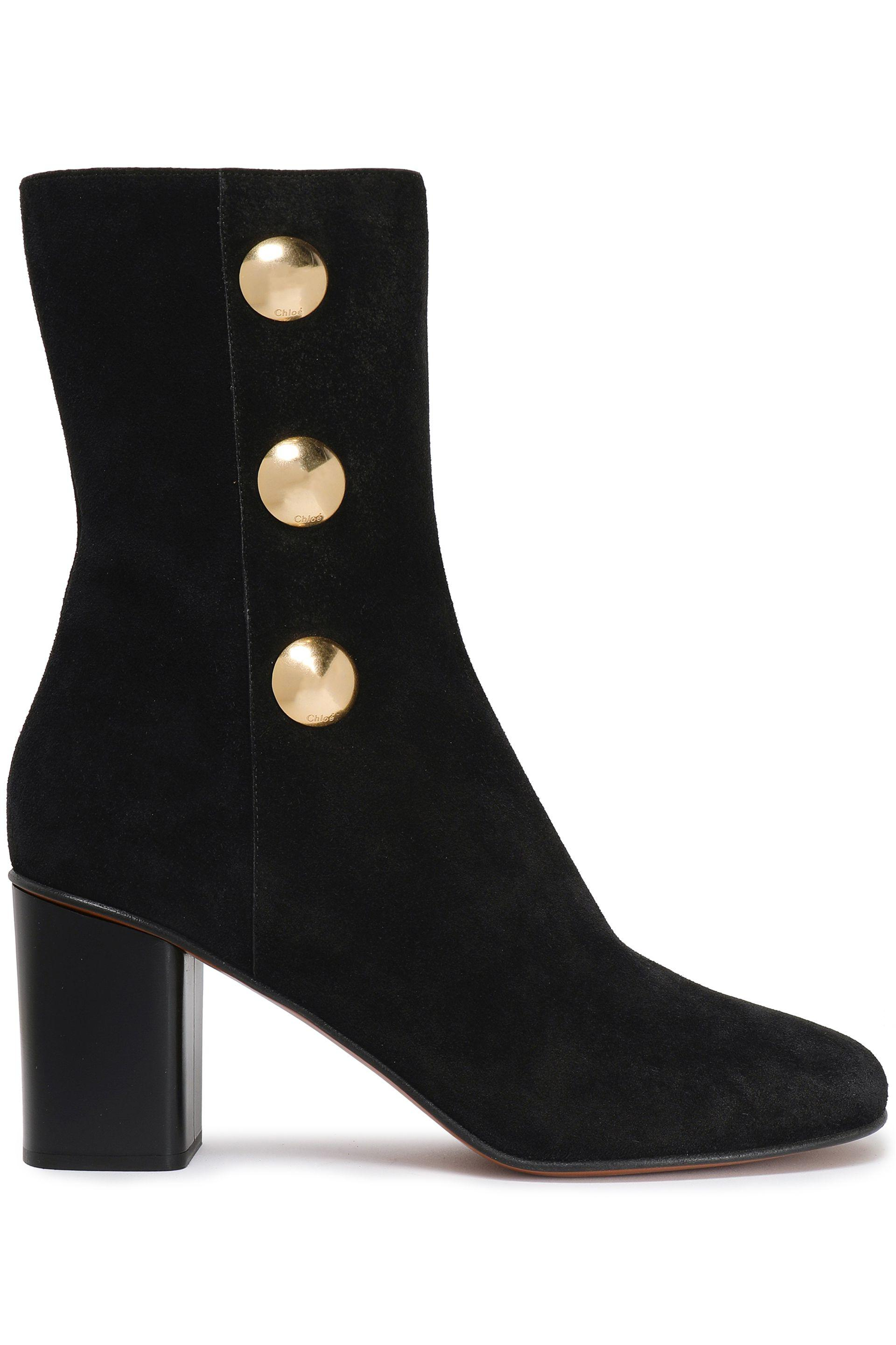 26972efab Chloé Button-embellished Suede Ankle Boots in Black - Lyst