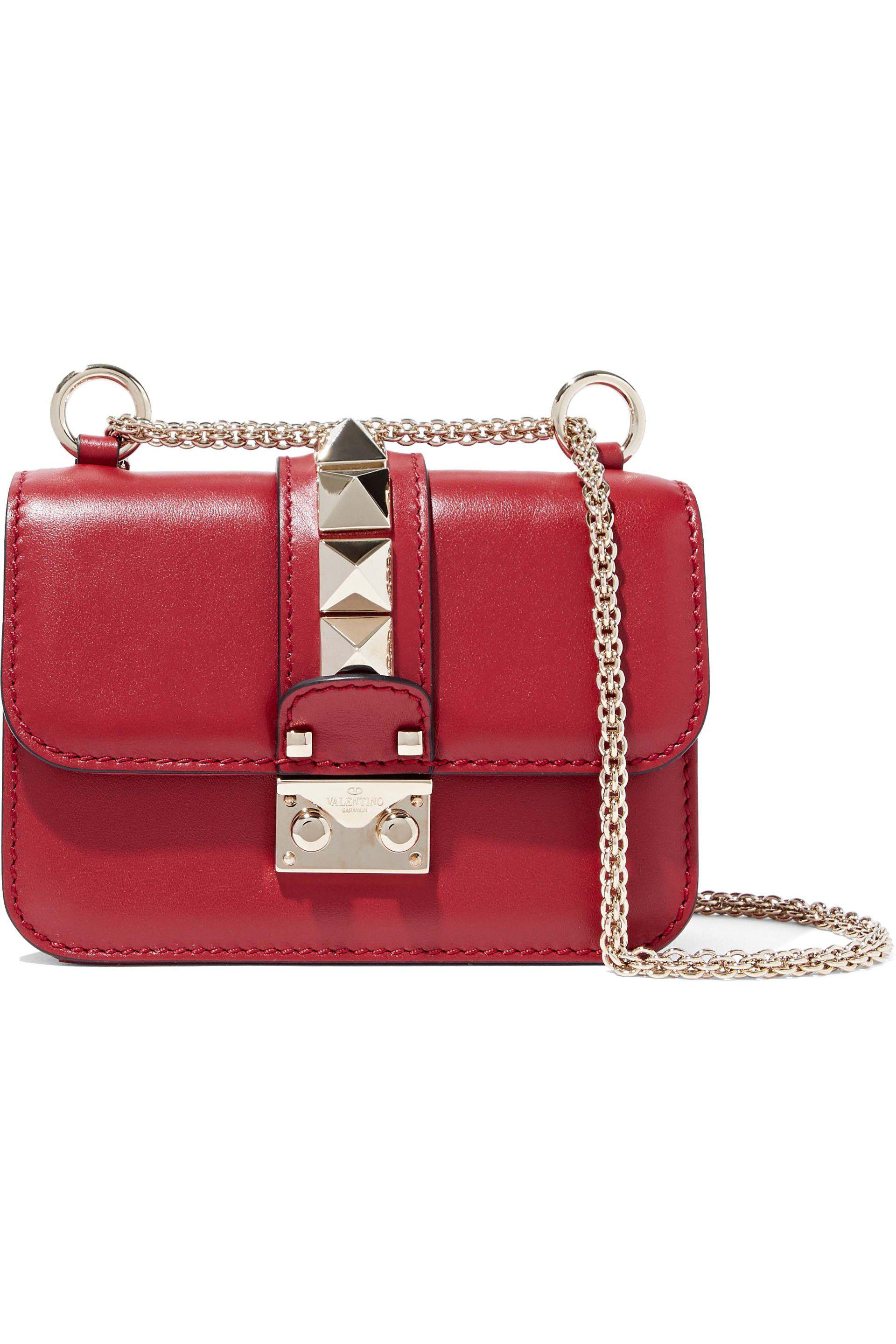 c343e4414d Lyst - Valentino Glam Lock Studded Leather Shoulder Bag in Red
