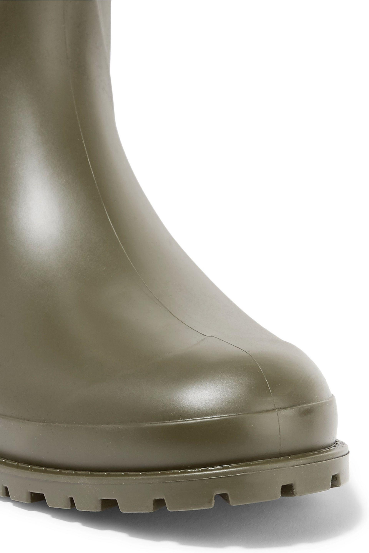afaa04f4461 Saint Laurent - Woman Festival 25 Leather-trimmed Rubber Rain Boots Army  Green - Lyst. View fullscreen
