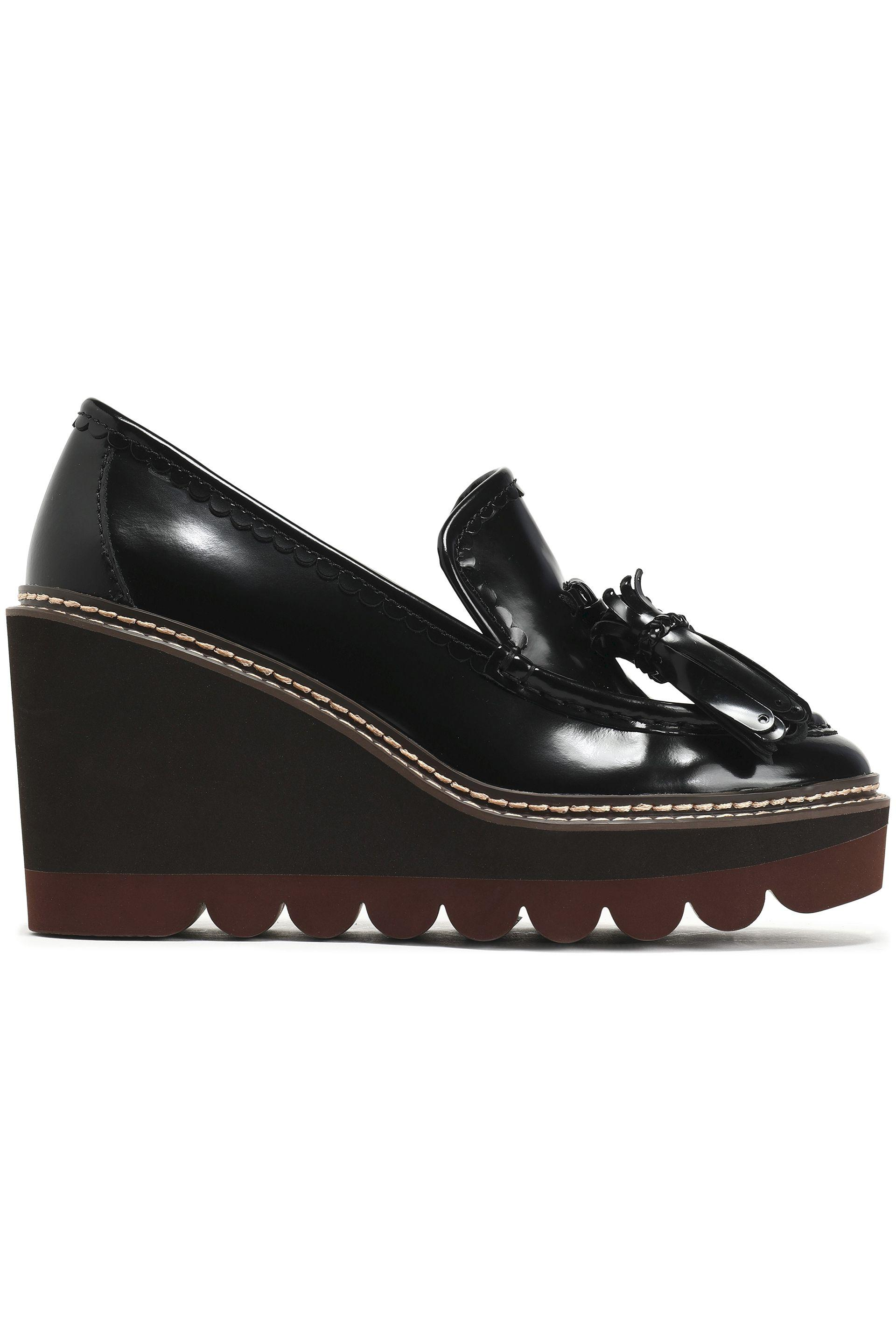 777429c2001ce See By Chloé. Women s See By Chloé Woman Zina Fringe-trimmed Patent-leather  Wedge Loafers Black