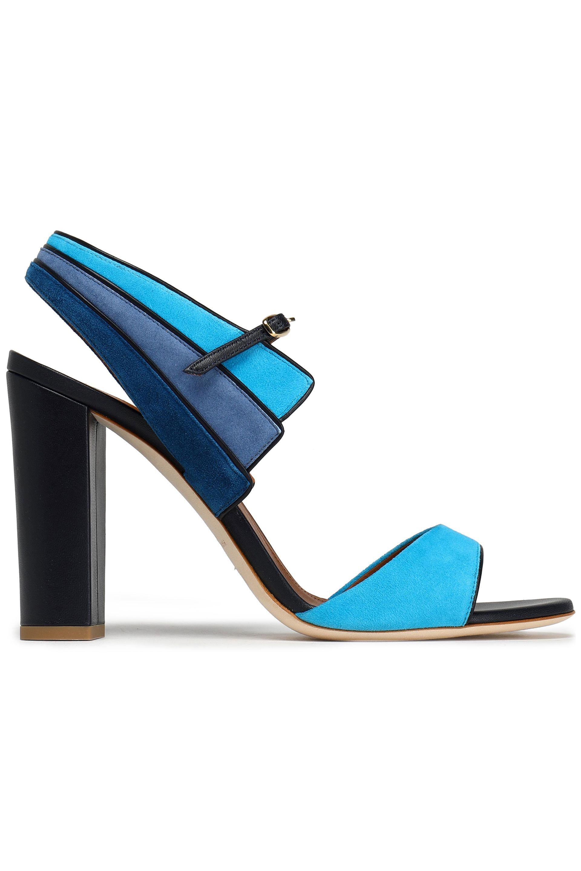 Malone Souliers Woman Leather And Suede Platform Sandals Blue Size 35 Malone Souliers HFW9V