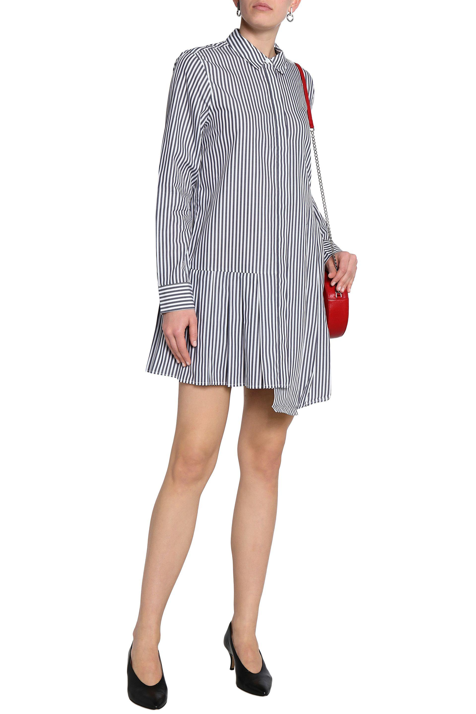 Equipment Woman Asymmetric Striped Cotton-poplin Mini Shirt Dress Multicolor Size L Equipment eSPDp4QCTU