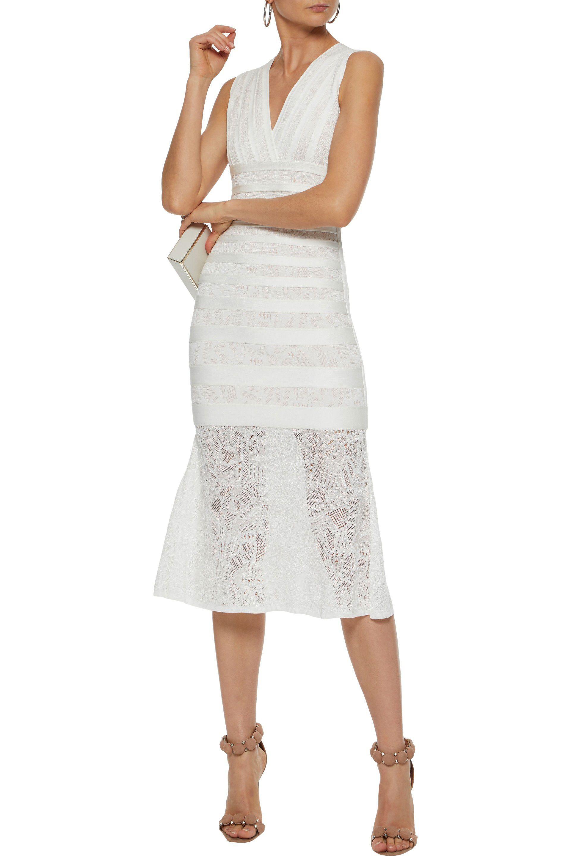 Shop For Cheap Online Hervé Léger Woman Isabela Lace-paneled Bandage Midi Dress White Size M Hérve Léger Buy Online New klYSO5U