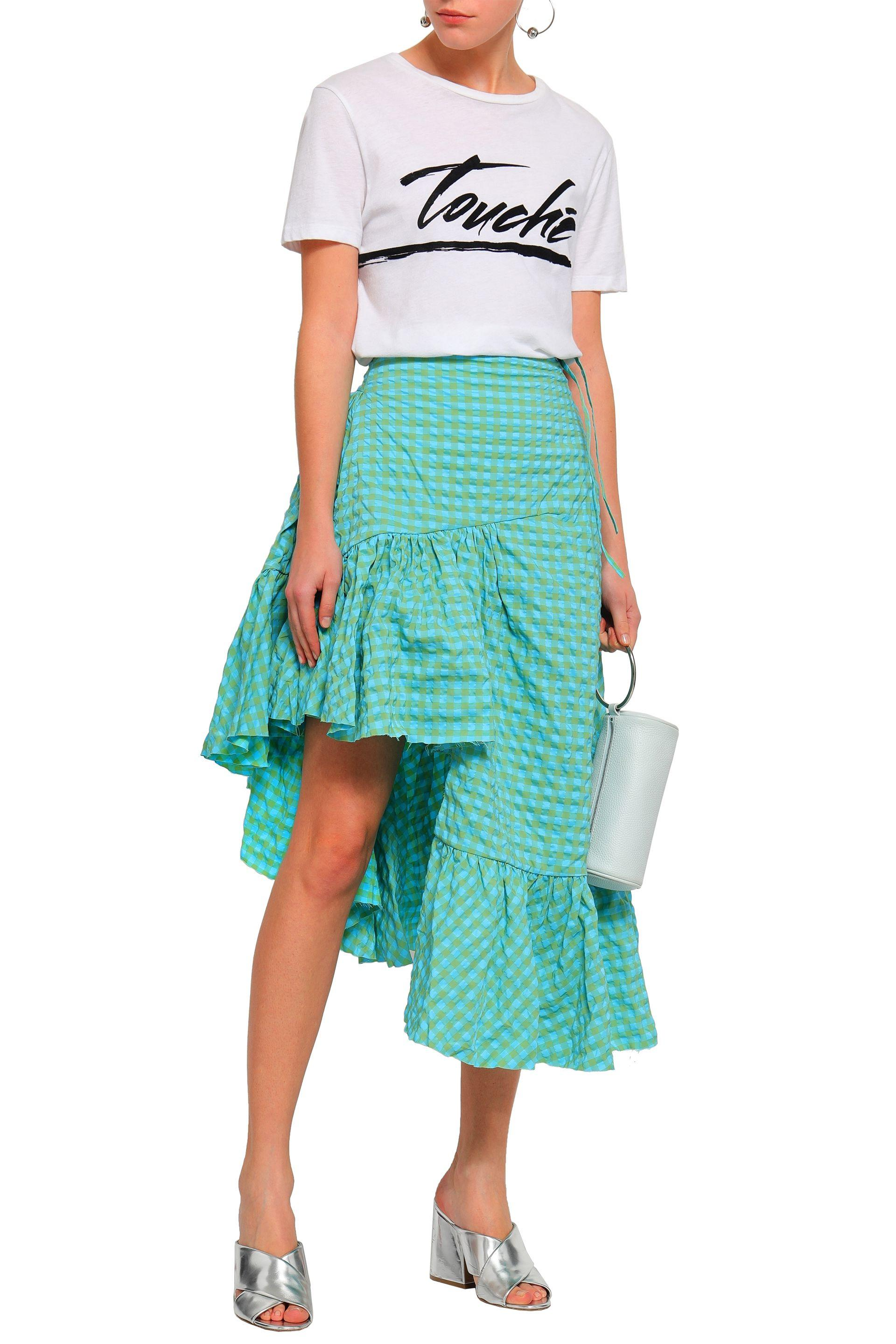 539965fe01 Marques'Almeida - Blue Woman Asymmetric Ruffled Gingham Seersucker Skirt  Turquoise - Lyst. View fullscreen