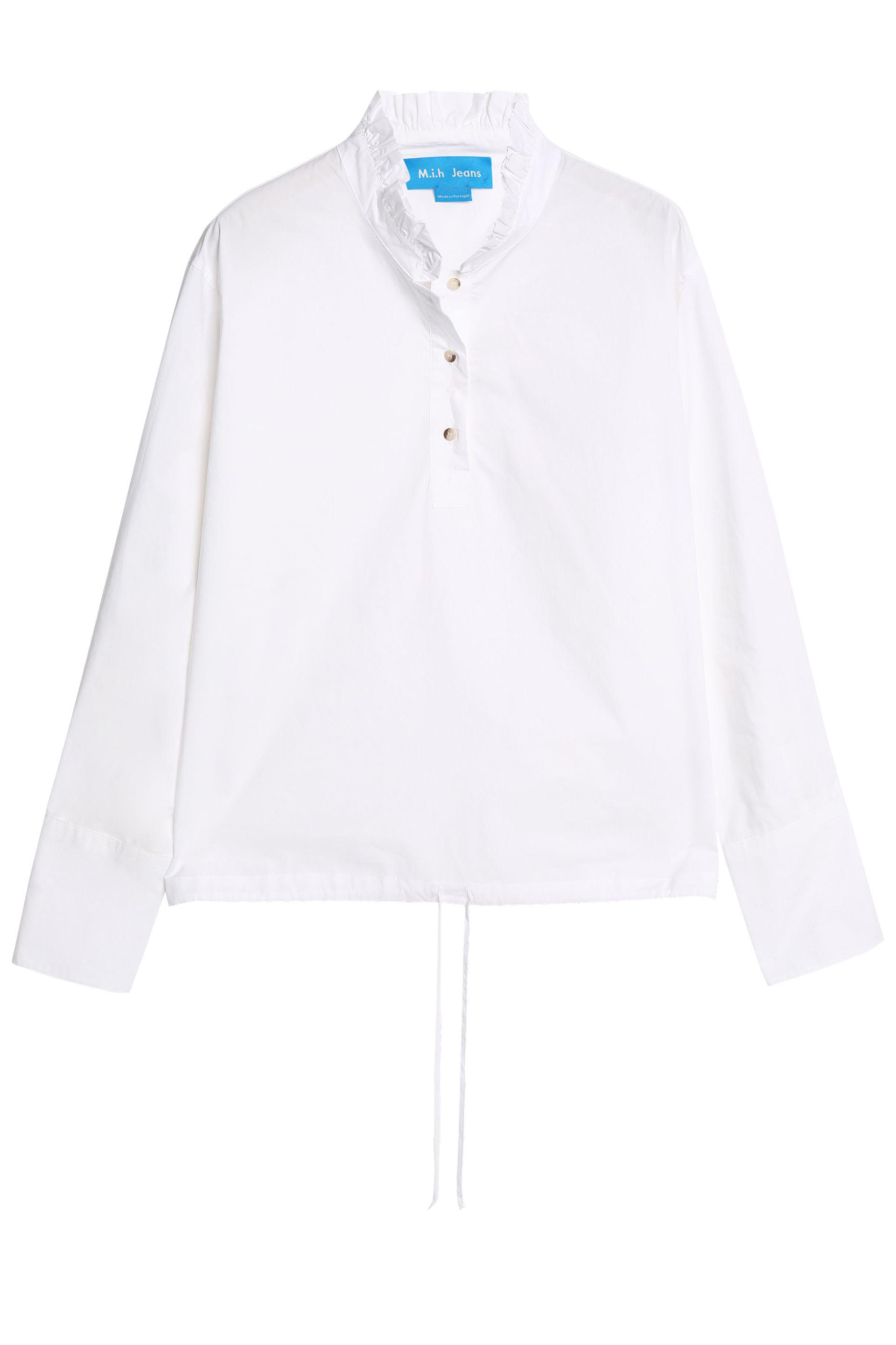 Ellery Woman Ruffle-trimmed Striped Fil Coupé Cotton Shirt Light Blue Size 10 Ellery Discount Browse Sale Best Store To Get For Nice Cheap Price awudz4
