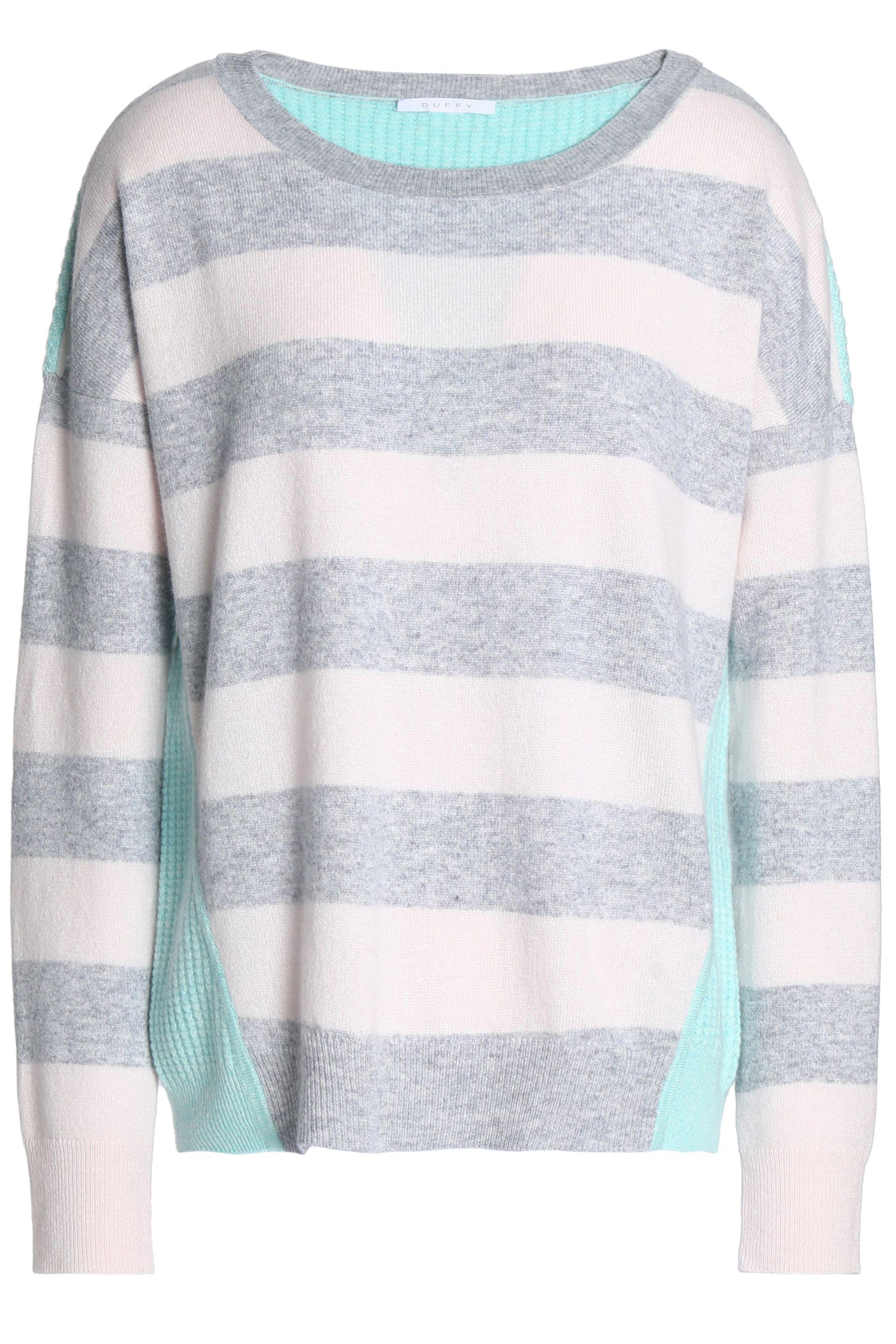 deb0b79b7f30e4 Duffy Woman Waffle Knit-paneled Striped Cashmere Sweater Gray in ...