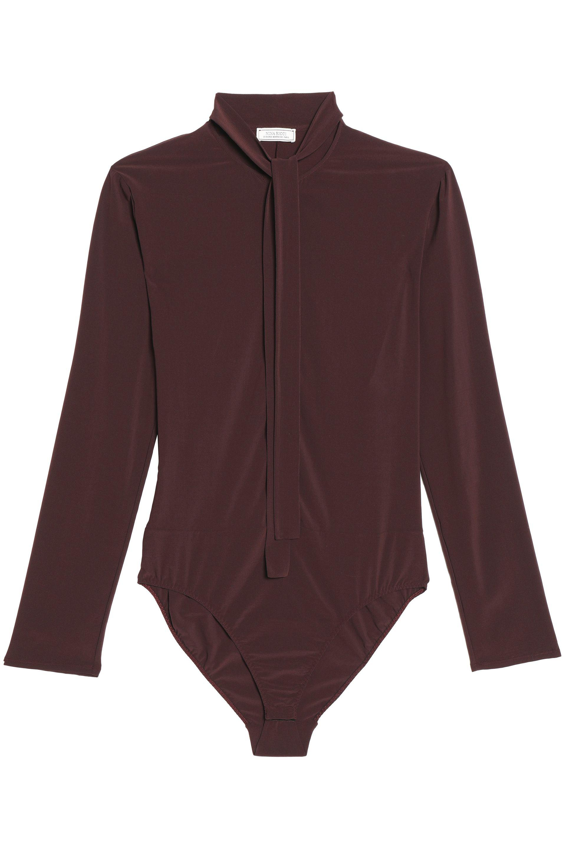 512119b9c9 Nina Ricci Pussy-bow Stretch-jersey Bodysuit in Gray - Lyst