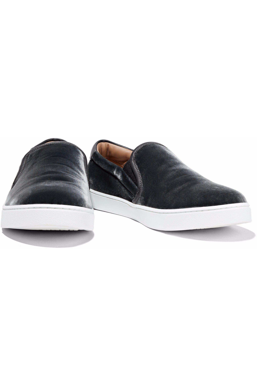 c311d439f Gianvito Rossi Venice Leather-trimmed Velvet Slip-on Sneakers in ...