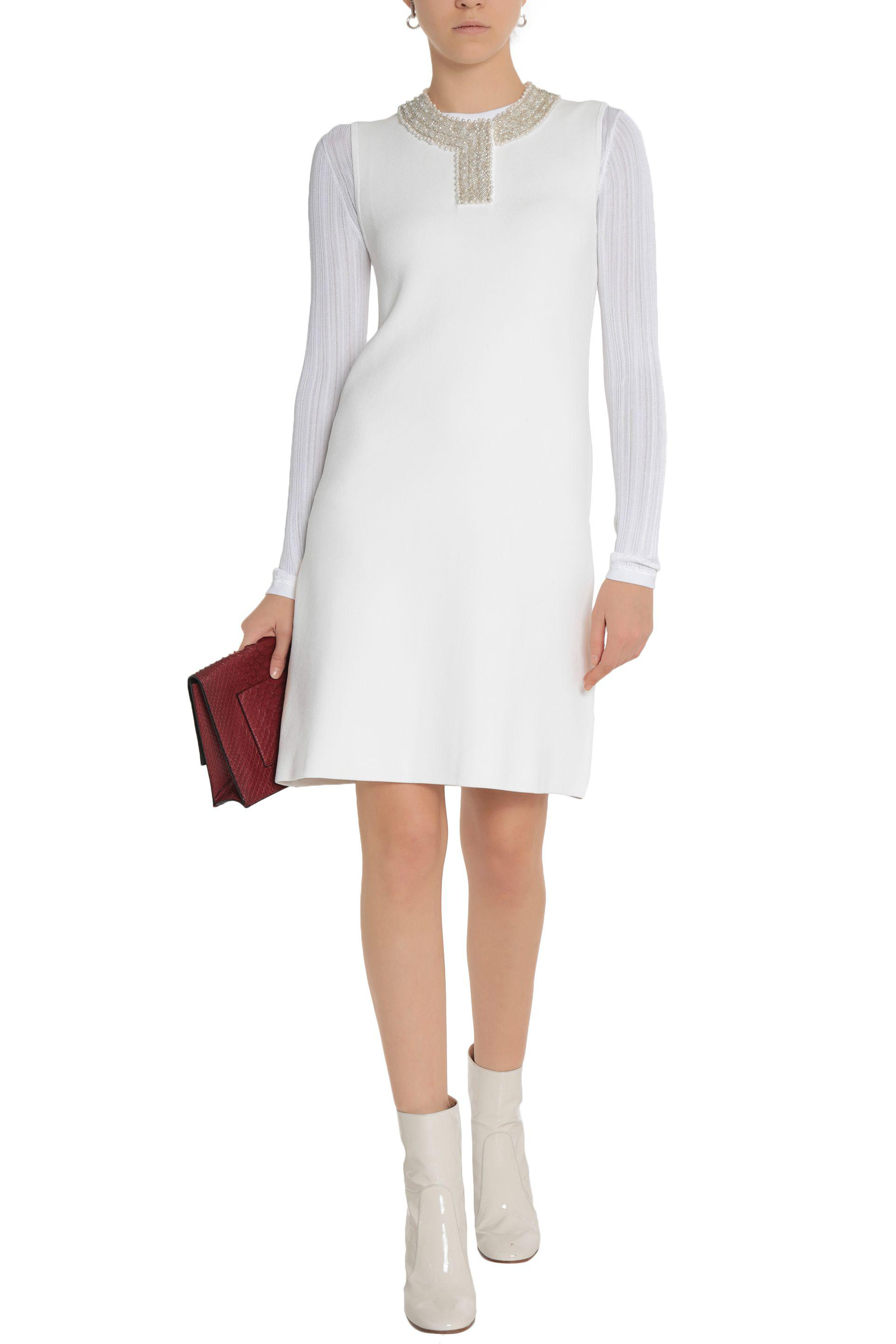 Ganni Woman Loras Embellished Stretch-knit Dress White Size M Ganni Clearance Choice Discount Manchester Great Sale 62OxPq2H1