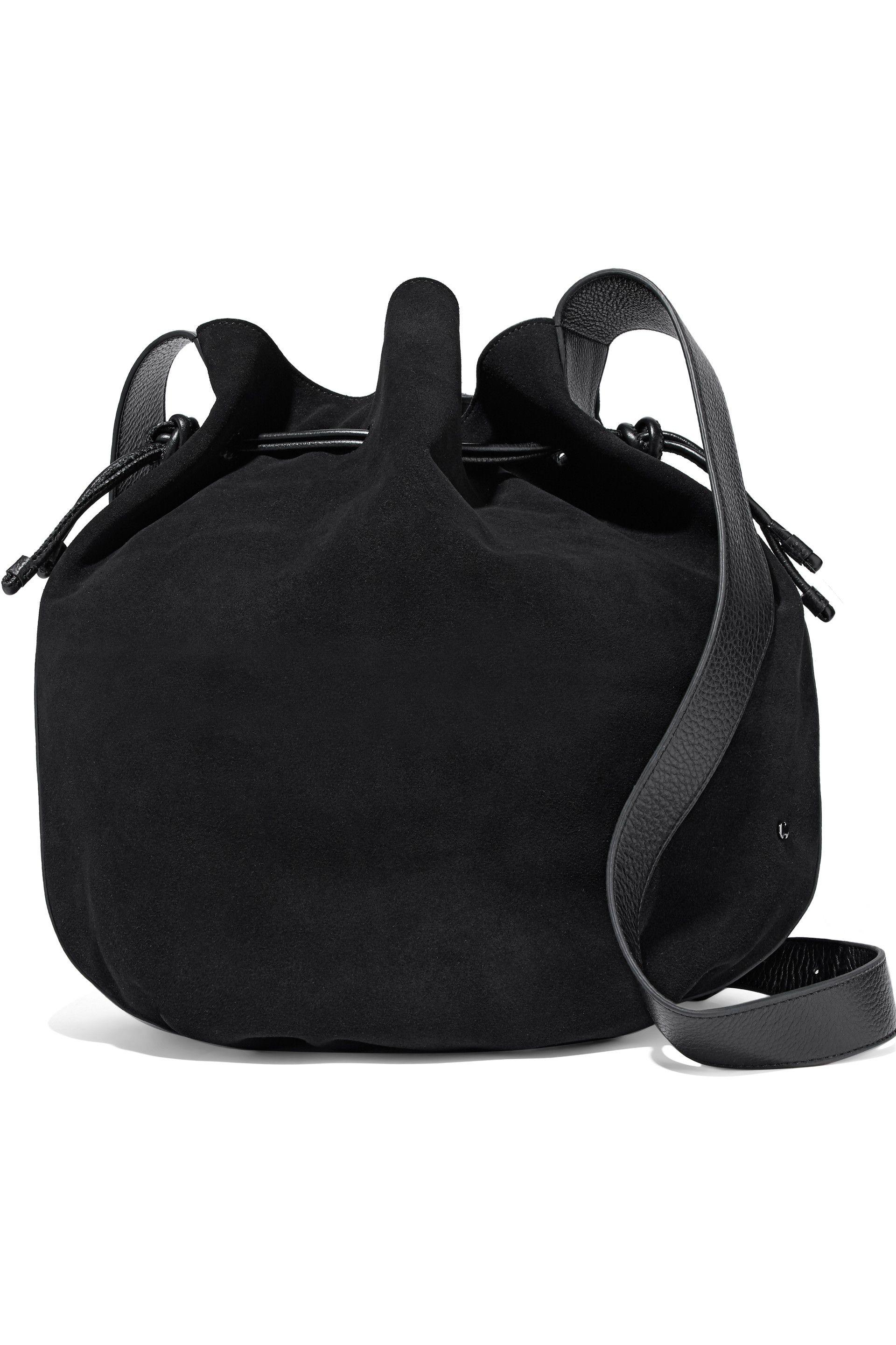 c100bd77e763 Lyst - Halston Leather-trimmed Suede Bucket Bag in Black
