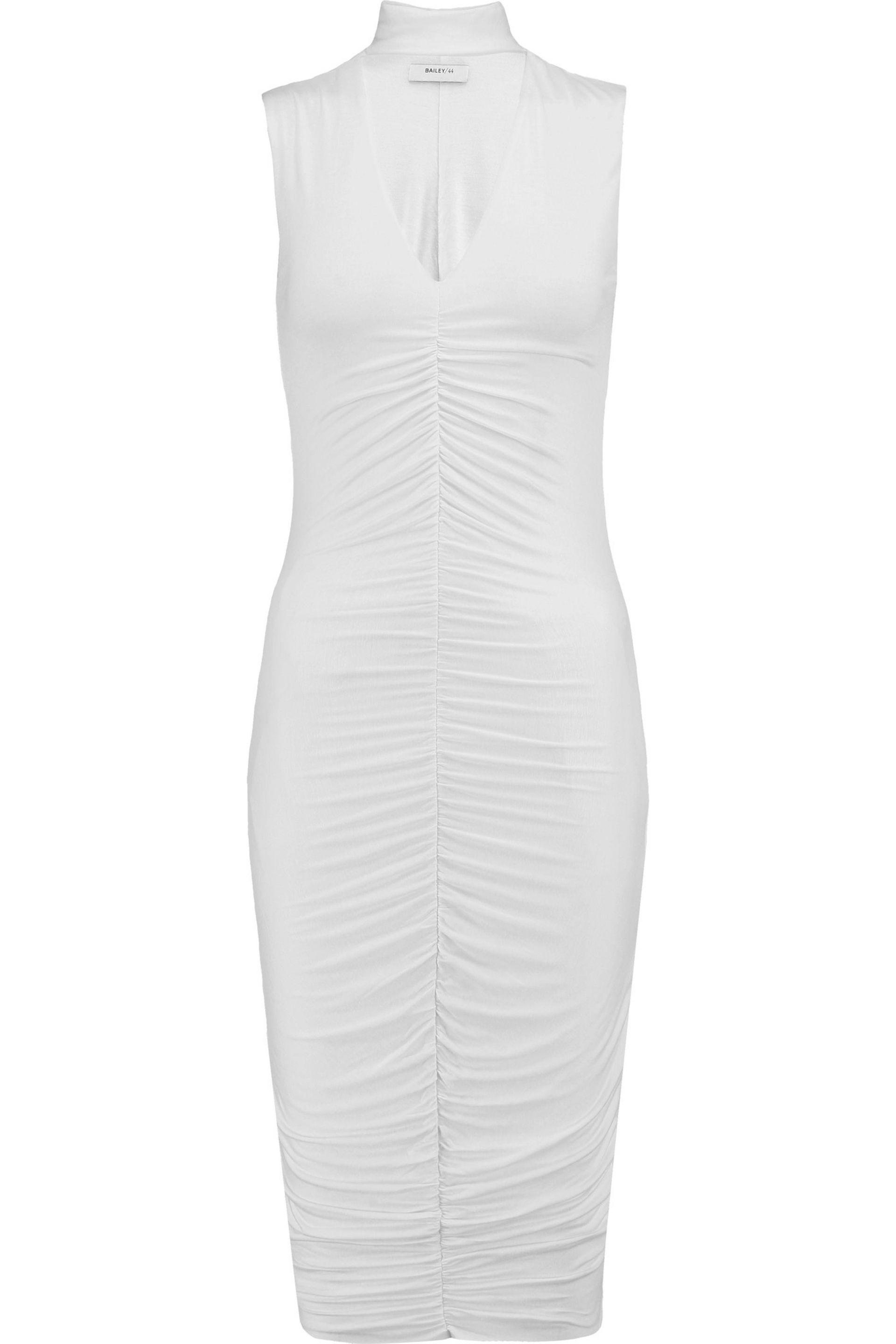 Bailey 44. Women's White Cutout Ruched Stretch-jersey Dress