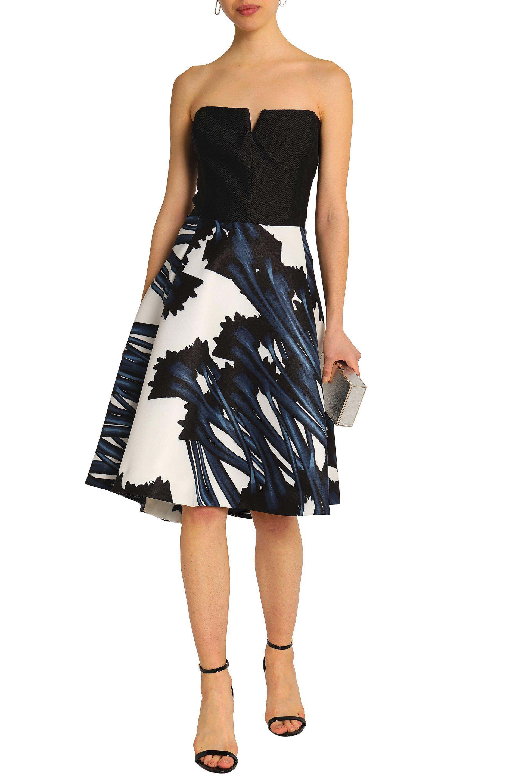 5c5ed886709 Lyst - Halston Woman Strapless Floral-print Twill Dress Black Size 2 ...