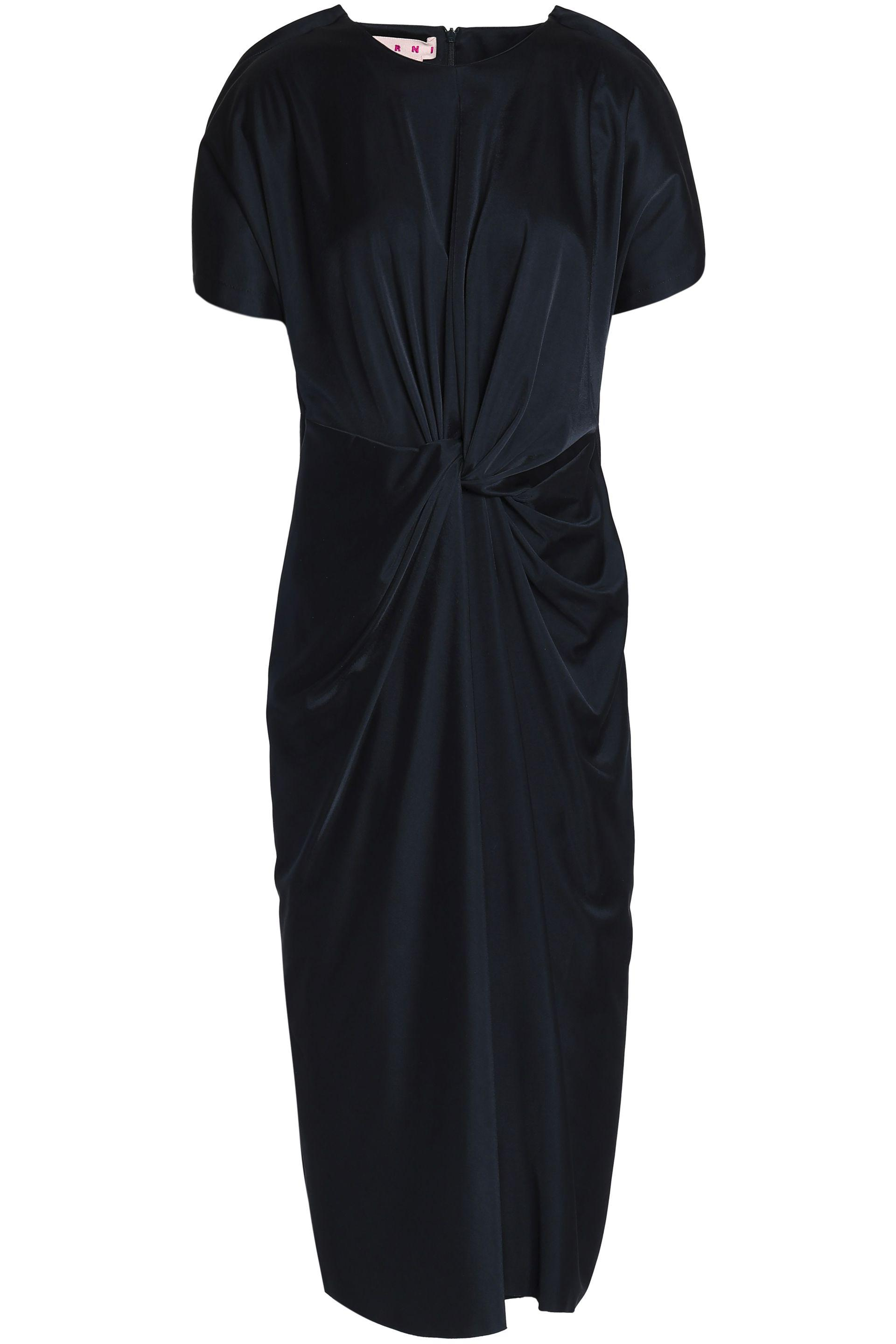 Marni Woman Wrap-effect Two-tone Cotton-blend Jersey Midi Dress Midnight Blue Size 40 Marni