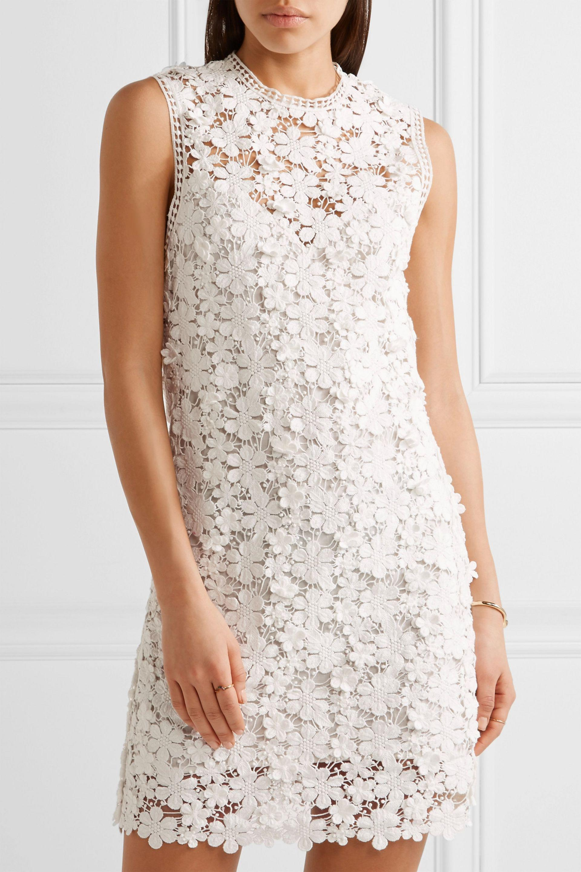 Lyst Sea Appliqu 233 D Guipure Cotton Lace Mini Dress In White