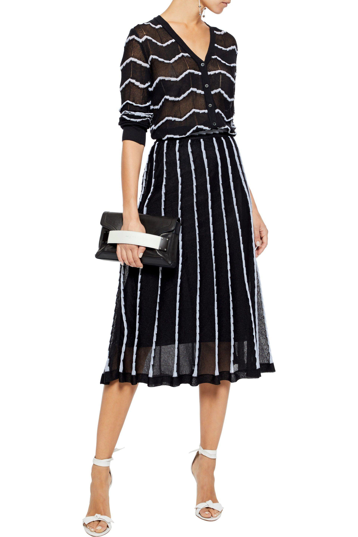 03602dba62 M Missoni - Woman Pleated Crochet-knit Midi Skirt Black - Lyst. View  fullscreen