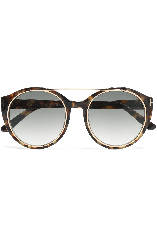 76ebb1de171 Tom Ford - Brown Round-frame Tortoiseshell Acetate And Gold-tone Sunglasses  - Lyst
