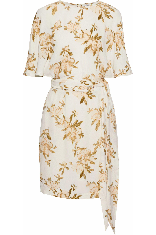 6c045dc20a210a Ganni Woman St. Pierre Floral-print Crepe Mini Dress White in White ...