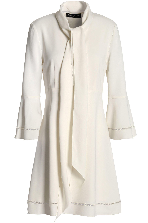 Rachel Zoe Woman Pussy-bow Lattice-trimmed Crepe De Chine Mini Dress White Size 10 Rachel Zoe uYRHVjVwY8