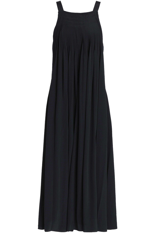 3ee595b687 Tibi - Woman Pleated Silk Crepe De Chine Midi Dress Black - Lyst. View  fullscreen